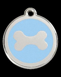 """RedDingo Hundemarke mit Emaille, """"Knochen"""", Hellblau, medium"""