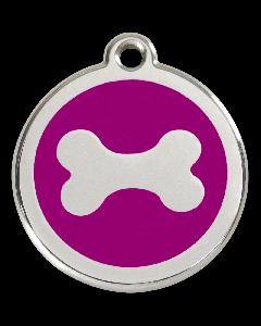 """RedDingo Tiermarke mit Emaille, """"Knochen"""", Violett, klein"""