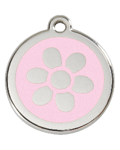 "RedDingo Hundemarke mit Emaille, ""Blume"", Rosa, medium"