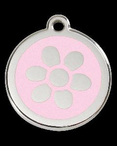 "RedDingo Hundemarke mit Emaille, ""Blume"", Rosa, groß"