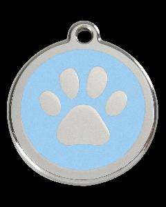 """RedDingo Hundemarke mit Emaille, """"Pfote"""", Hellblau, medium"""