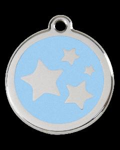"RedDingo Hundemarke mit Emaille, ""Sterne"", Hellblau, medium"