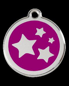 """RedDingo Tiermarke mit Emaille, """"Sterne"""", Violett, klein"""