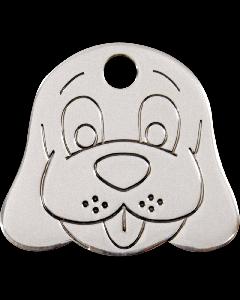 """RedDingo Hundemarke aus Edelstahl, """"Hundekopf"""", medium"""