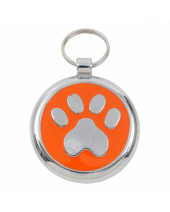 "Tagiffany Hundemarke mit Emaille 'Smarties', ""Pfote"", Orange, medium"