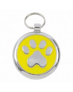"Tagiffany Hundemarke mit Emaille 'Smarties', ""Pfote"", Gelb, medium"