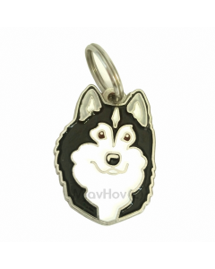 "Handbemalte Hundemarke, ""Alaskan Malamute schwarz/weiß"""