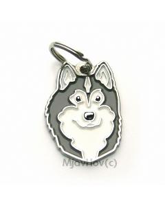 "Handbemalte Hundemarke, ""Alaskan Malamute grau/weiß"""