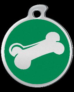 """Misstoro Hundemarke mit Emaille, """"Knochen"""", Grün, groß"""