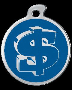 """Misstoro Hundemarke mit Emaille, """"Dollar"""", Blau, medium"""