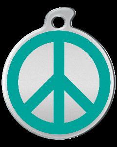 "Misstoro Hundemarke mit Emaille, ""Peace"", Türkis, medium"
