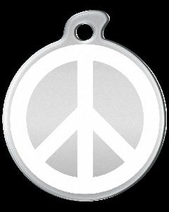 """Misstoro Hundemarke mit Emaille, """"Peace"""", Weiß, medium"""