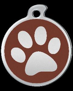 """Misstoro Hundemarke mit Emaille, """"Pfote"""", Braun, groß"""