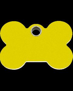 """RedDingo Hundemarke aus Kunststoff, """"Knochen"""", Gelb, groß"""